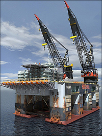 Dual Crane Oil Rig