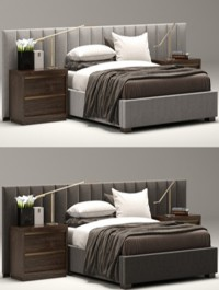 RH, Modern ,custom ,vertical ,channel, extended ,headboard, bed