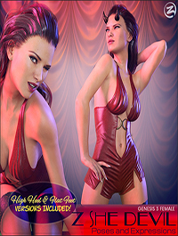 Z She Devil - Poses and Expressions for Genesis 3 Female / Victoria 7 by Zeddicuss