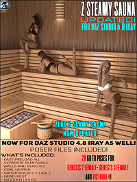 Z Steamy Sauna + Poses - Daz and Poser by Zeddicuss