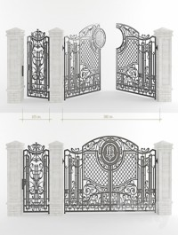 Forged gate with a gate and pillars