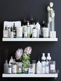 Shelves with cosmetics and bathroom decor 2