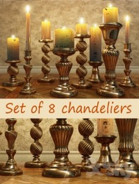 Set of chandeliers with candles
