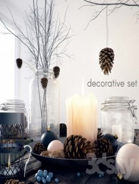 Decorative set with jars and candles