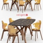 Calligaris Jungle table Saint Tropez wood chair