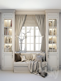 Soft area at the window - a sofa with pillows, blankets, curtains, cabinets and decor.