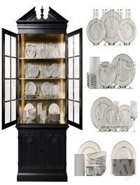 Antique Сupboard With Dishes