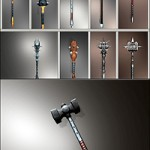 CGTrader – Fantasy Mace-hammer Collection Pack low poly 3D model