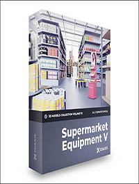 CGAxis Supermarket Equipment 3D Models Collection – Volume 112