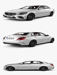 Mercedes-Benz C-Class W205 sedan AMG line with HQ interior 2018 3D Model