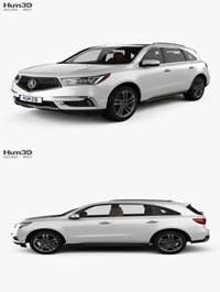 Acura MDX Sport Hybrid with HQ interior 2017 3D model