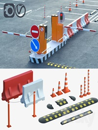 Equipment for the creation of parking lots, road fences