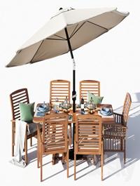 Brown Acacia 7 Piece Dining Set