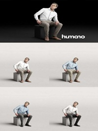 Humano Elegant business man in shirt sitting and looking 0115 3D model