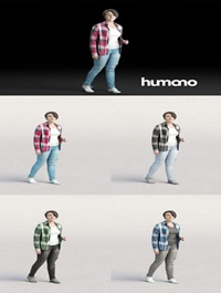 Humano Casual woman in checkered shirt Walking and talking 0214 3D model