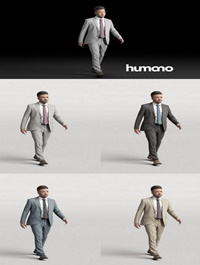 Humano Elegant Man Walking and talking 0302 3D model