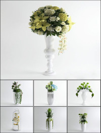 3D Models Floor Vases Flower Collection