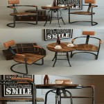 Retro industrial style dining table and chair