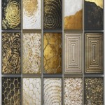 A collection of paintings. Gold. five