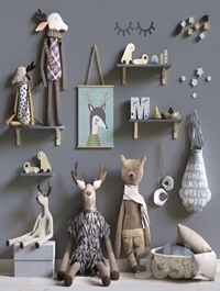 Set of soft toys and accessories in the Scandinavian style
