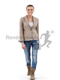 Woman In Jeans Walking 3d models