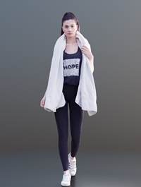 Sporty Girl Walking Scanned 3d model