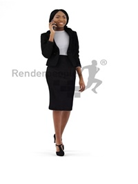 Business Woman Talking with Cellphone 3d model
