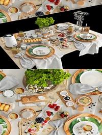 Modern tableware food combination