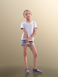 Young Girl Standing 02 Scanned 3d model