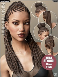 Rasta Tails Hair and OOT Hairblending 2.0 for Genesis 3 Female(s)