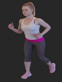 Fit girl running 3D model