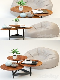 Coffee table and poof