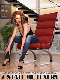 Z State Of Luxury Morphing Chair and Poses for Genesis 3 & 8 Female