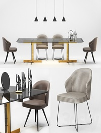 Minotti Catlin Dining Table Leslie Dining Chairs