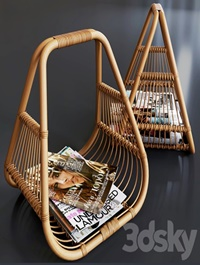 Journals set and wicker stand made of natural rattan