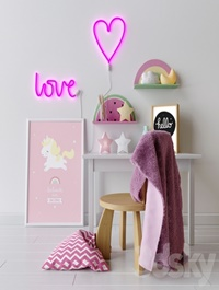 Decorative set in the nursery for girls