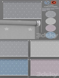 Roller Blind Stars in Four Colors Set 1