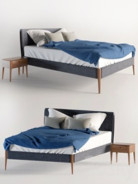The bed and nightstand Gruene Erde