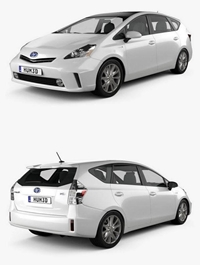 Toyota, Prius, V, 2011, 3D ,model
