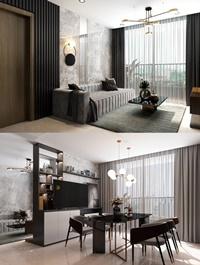 Kitchen Livingroom Interior Scene By TranHaVy