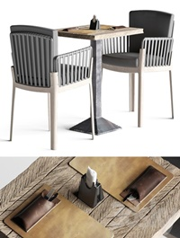 Miami chair welded table and table setting