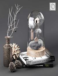 Cloche glass decorative set