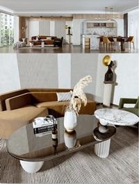 Modern minimalist living room dining room 3d model