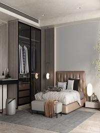 Modern master bedroom scene