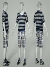 Male Casual Outfit 40 Shorts Shirt Footwear Low-poly 3D model