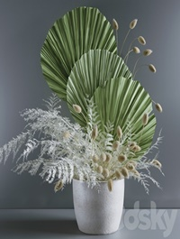 Bouquet with fern and lagurus
