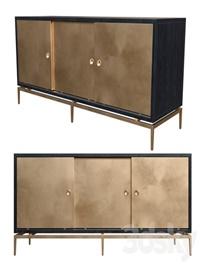 Dresser with metal sliding doors