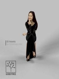 Paula Fancy, Dress, Asian, Woman, In ,Black ,Dress ,Looking, And ,Sitting ,3D, model
