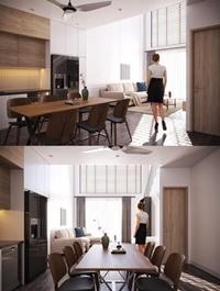 Kitchen – Livingroom Scene By Mai Long