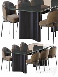 Minotti lou dining table & chair fil noir